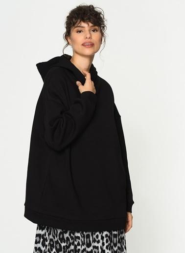 Loves You Kapüşonlu Oversize Şardonlu Sweatshirt Siyah